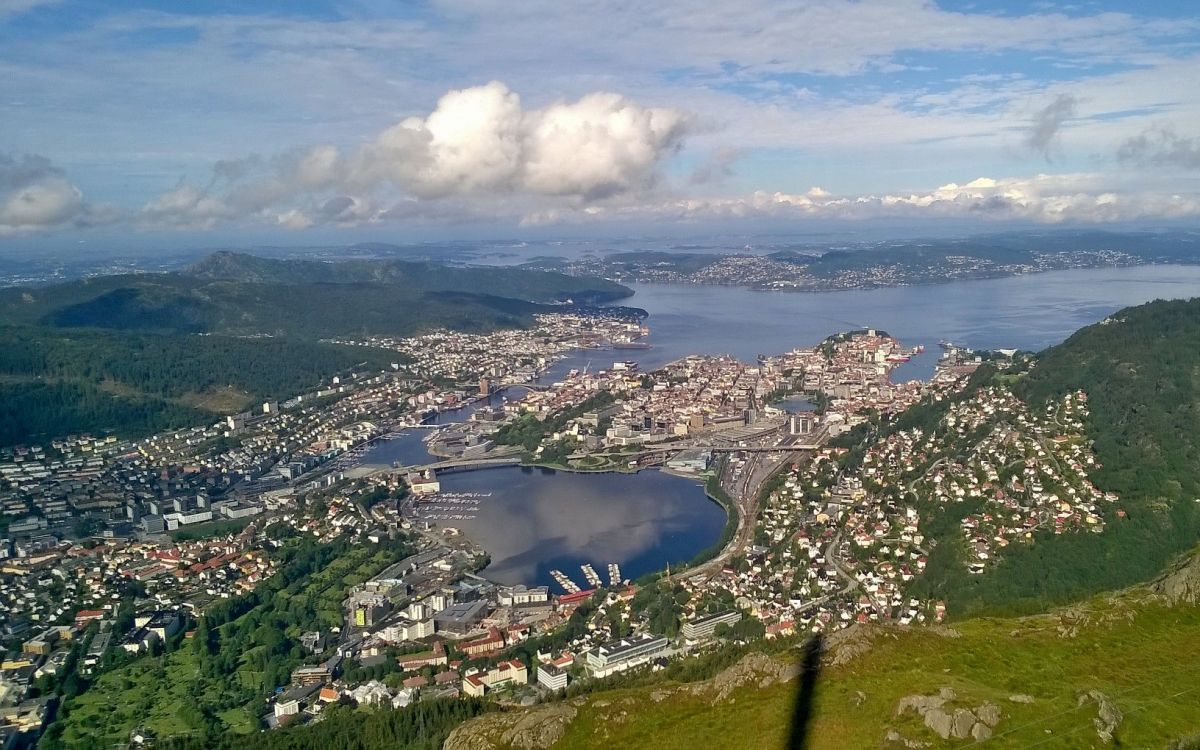 Looking down at bergen